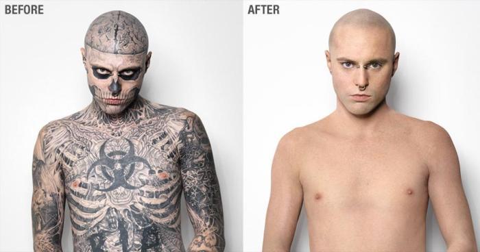 Rick Genest antes y después de utilizar el maquillaje Dermablend Professional