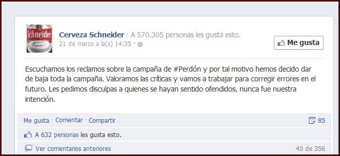 Perdón Facebook Cerveza Schneider